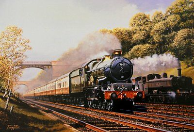 Beautiful Print Picture Painting Sonning Cutting Steam Train Railway Locomotive