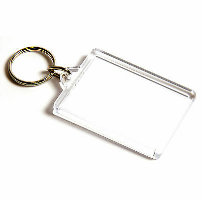 10 BLANK CLEAR LARGE KEYRINGS 50mm x 35mm 50 35 C1
