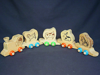 Lot Set of 5 Old Wooden Vtg Wood Toy Block Train Car Zoo Carnival Circus Animal