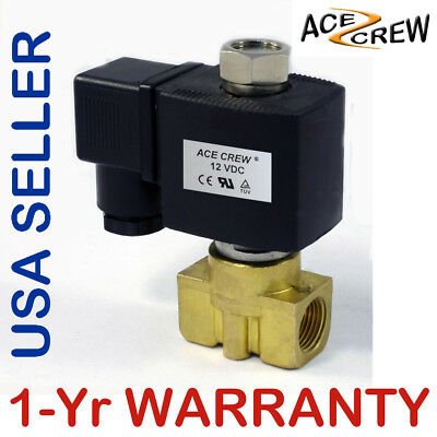 3/8 inch NORMALLY OPEN 12V DC VDC Brass Solenoid Valve NPT ONE-YEAR WARRANTY