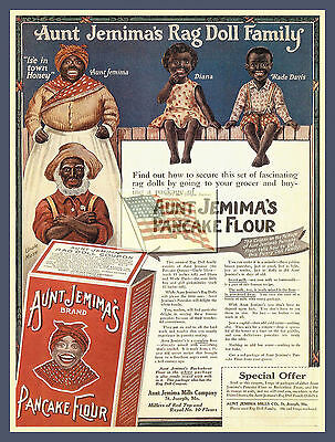 REPRINT PICTURE old AUNT JEMIMA'S RAG DOLL FAMILY pancake flour ad BLUE 5 5/16x7