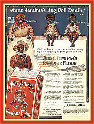 REPRINT PICTURE of old AUNT JEMIMA'S RAG DOLL FAMILY pancake flour RED ad mose