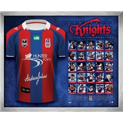 Newcastle Knights Ltd Edition Andrew Johns Signed & Framed Greatest 25 Jersey