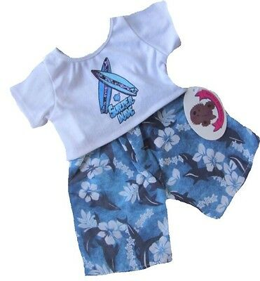 Teddy Bear Clothes fits Build a Bear Teddies Blue Surfer Outfit Bears Clothing