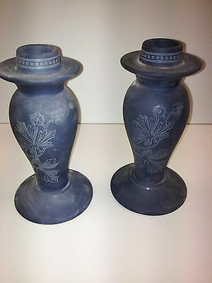 Genuine Antique Pair Of Ceramic Wedgwood Candle Holders. Great Collectable
