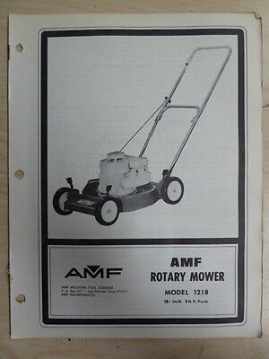 """Amf Western Tool 18"""" 3 H P Rotary Mower Parts List Manual Model 1218"""