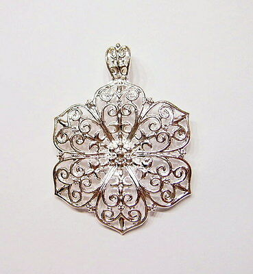 2 Silver Plated Sturdy Victorian Art Deco Six 6 Leaf Flower Large Bail Pendants
