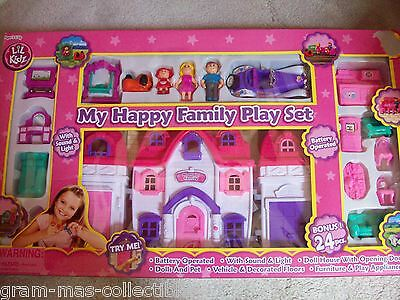 My Happy Family Playset With Sound And Light Battery Operated Doll House 24 Pcs
