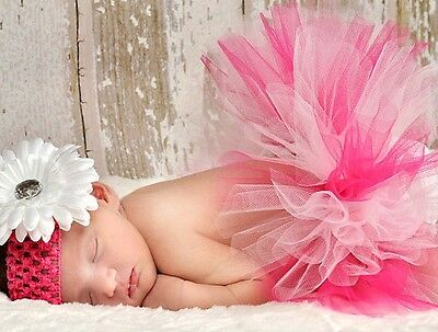 Infants Girls Boutique Princess Hot Pink White Tutu Baby Shower Gift Photo Prop