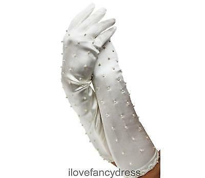 Long Beaded Ivory Satin Gloves Fashion Accessory Traditional Wedding Costume