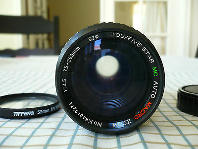 TOU/FIVE STAR Auto Macro Zoom Lens 75-200mm for PENTAX 35mm Film Camera