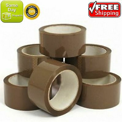 """BROWN BUFF PARCEL STRONG TAPE MULTILISTING 12 6 24 36 50mm 50m BOX 2"""""""