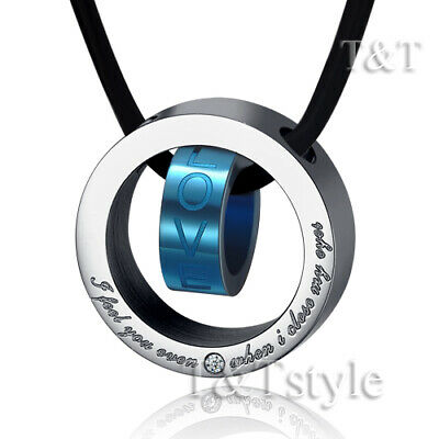 T&T Black Stainless Steel Love Pendant Necklace (NP67)