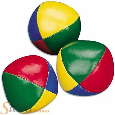 Set of 3 Coloured Juggling Balls Bean Filled Circus Clown Learn to Juggle