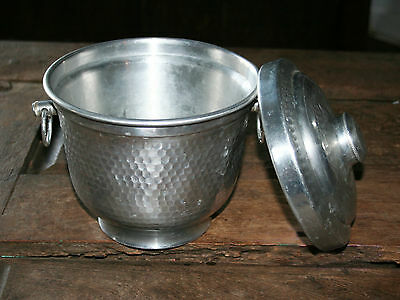 VINTAGE MID CENTURY MODERN HAMMERED ALUMINUM COVERED ICE BUCKET! MADE IN ITALY!