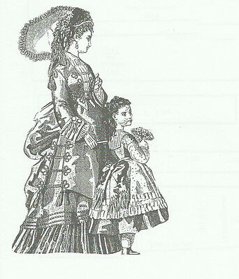 "1873 Dress pattern for antique French Fashion doll size 12-16 17-18 21-22""  #131"