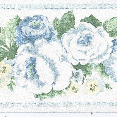 Rose Flowers - Blue White Green - ONLY $4 - Wallpaper Border 721A