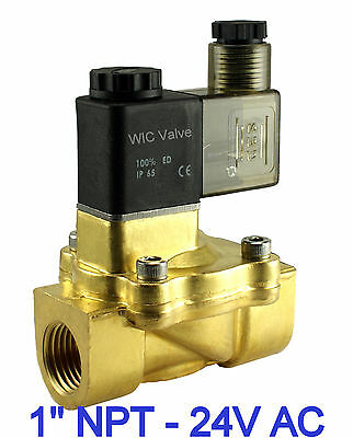 "1"" Brass Pneumatic Electric Air Water Solenoid Valve Normally Closed 24V AC NBR"