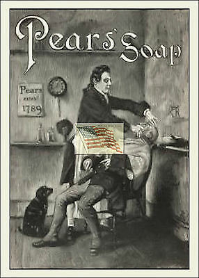 REPRINT PICTURE of old PEARS' SOAP ad 1888 MAN GETTING A SHAVE IN CHAIR 5x7