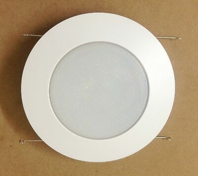 "6"" Inch Recessed Can Light Shower Trim Frosted Glass Albalite Lens White"