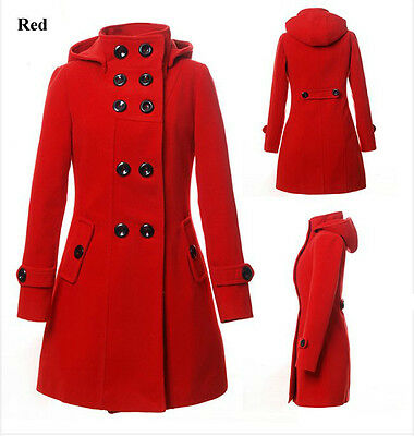 2012 Fashion Women Wool Coat Trench Hooded Coat Long Jacket Outwear Overcoat
