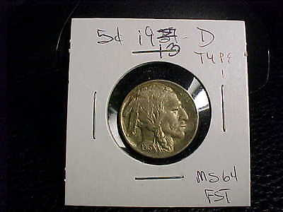 FREE SHIP RARE 1913 D TYPE 1 INDIAN Buffalo Nickel UNC ++++ FST BUY IT NOW OFFER