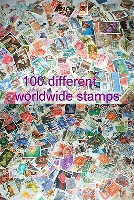 100 different worldwide stamps