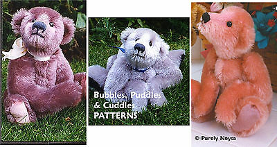 "Mohair ""Bubbles, Cuddles, Puddles""  3 Teddy Bear PATTERNS by Neysa A. Phillippi"