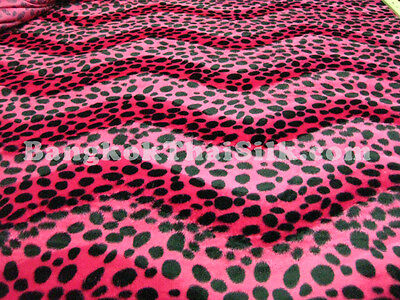 "Hot Pink Animal Print Soft Velvet Leopard Fabric 60""W Upholstery Pillow Blanket"