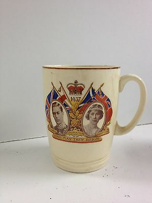 1937 Coronation Of King George Vi & Queen Elizabeth Commemorative Ceramic Mug.