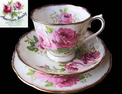 Royal Albert AMERICAN BEAUTY 3pc Tea Cup Saucer & Plate 1st Eng c1940's