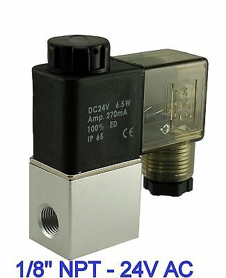 "1/8"" Inch Normally Closed Pneumatic Aluminum Air Warer Solenoid Valve 24V AC DIN"