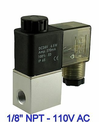 1/8 Inch Normally Closed Pneumatic Aluminum Air Warer Solenoid Valve 110V AC DIN