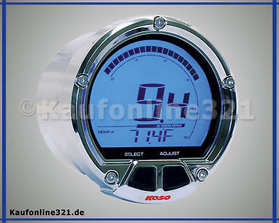 KOSO D55 DL-02R Drehzahlmesser Thermometer LCD Display 250°c  20000 RPM chrom
