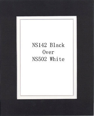 Pack of 20 11x14 Black/White Picture Double Mat for 8x10 Photo + Backing + Bags