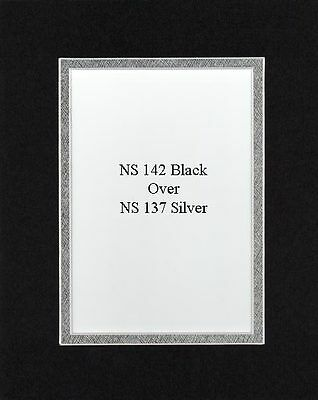 Pack of 20 11x14 Black/Silver Picture Double Mat for 8x10 Photo + Backing + Bags