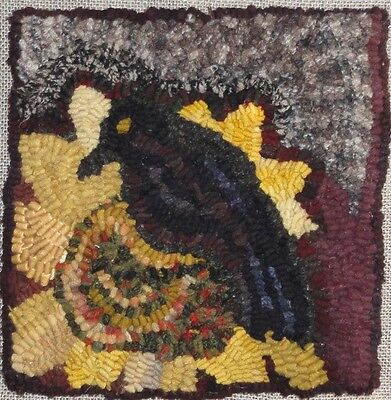"""""""crow With Sunflower"""" ~Rug In A Day Linen Pattern~Primitive Rug Hooking"""