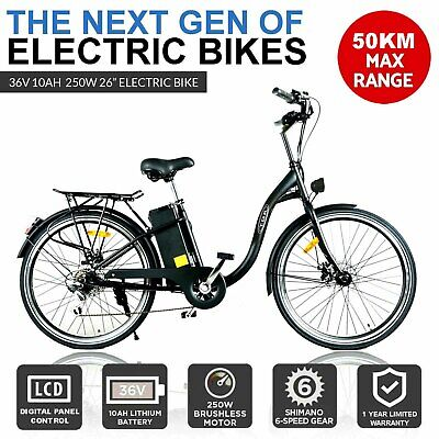 Blue 250W Electric Bike 36V Ebike Urban Scooter City Bicycle Lithium Battery