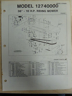 """Amf 36"""" 10 H P Riding Mower Parts List Owner's Manual Model 12740000"""