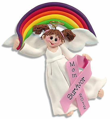 T Cancer Pink Ribbon Personalized Ornament Handmade Polymer Clay Angel