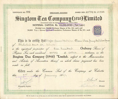 Singtom Tea Company   1947 Calcutta India stock certificate rupees Major Bahadur
