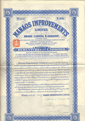 Manaos Improvements Limited   1909 Brazil bond certificate share