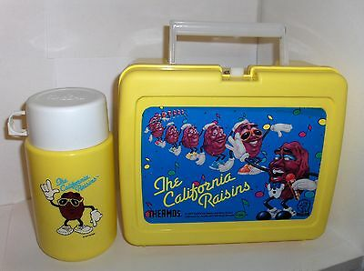 The California Raisins`1987`Plastic Lunchbox & Thermos`With Sip Top- Free To US
