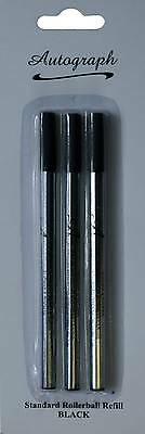 Roller Ball Black Refills for Autograph Rollerball Pens Pack of Three