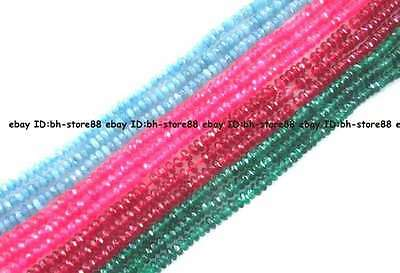 2x4mm Jade roundel faceted loose Beads 15""