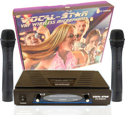 Vocal-Star WM-240 Dual Twin 2 Vhf Wireless Microphones For Karaoke Singing PA