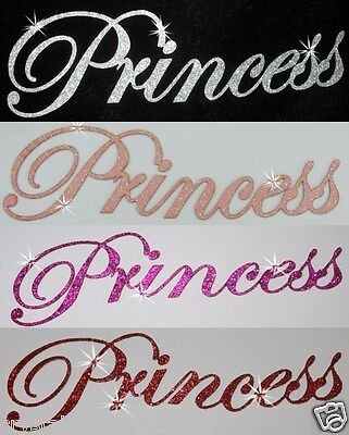 Fabric Glitter Princess Name Iron-On Hotfix Diy Tshirt Transfer Applique Patch
