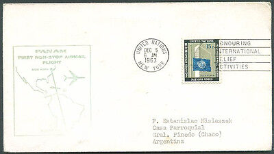 1st Flight PAN AMERICAN NEW YORK TO BUENOS AIRES, UN Cover VF