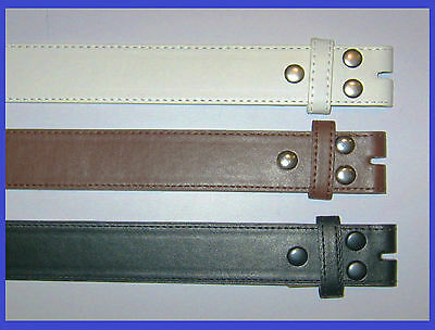 NEW Men's Women's Black Brown Leather Snap On Belt No Buckle w/ stitch