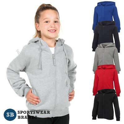Kids Full Zip Fleecy Hoodie Boys Girls Cotton Rich Jacket Hoody Size 6-14 S3FH